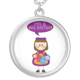 i'm a big sister (twin brother and sister) round pendant necklace