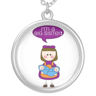i'm a big sister (twin brothers) round pendant necklace