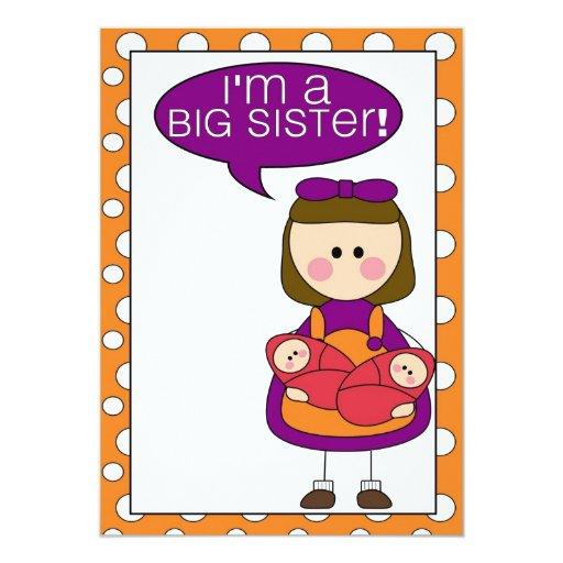 "i'm a big sister (twin sisters) announcement 5"" x 7"" invitation card"