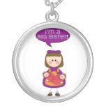 i'm a big sister (twin sisters) round pendant necklace