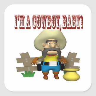 Im A Cowboy Baby Square Sticker