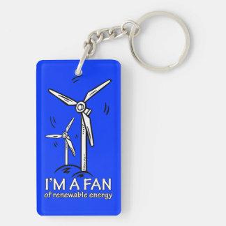 I'm a Fan of Renewable Energy Double-Sided Rectangular Acrylic Keychain