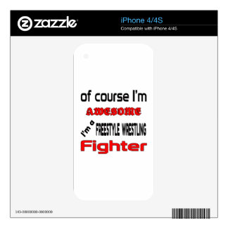 I'm a Freestyle Wrestling Fighter Decal For iPhone 4