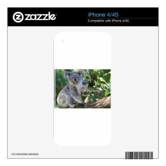 I'm a genuine Aussie: cute cuddly Australian koala Skins For iPhone 4