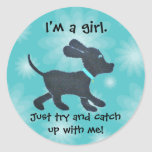 I'm a girl - whimsical dog stickers