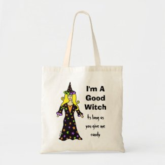 I'm A Good Witch, As long as you give me candy Canvas Bags