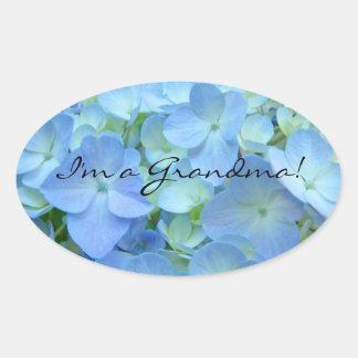 I'm a Grandma stickers seals Blue Hydrangea flower