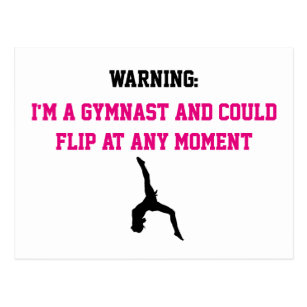 bcd5ba63 I'm a Gymnast Magenta Gymnastics Fun Quote Flip Postcard