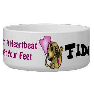 I'm A Heartbeat At Your Feet Customized Dog Bowls