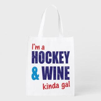 I'm A Hockey & Wine Kinda Gal Grocery Bags