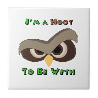 I'm A Hoot Angry Owl Face copy Ceramic Tile