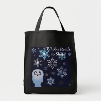 I'm A Hoot Snowy Owl Christmas Owl Blue Tote Bag
