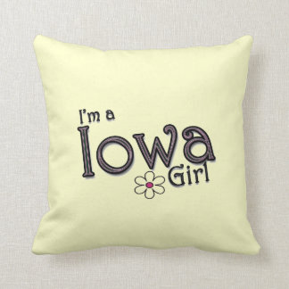 I'm a Iowa Girl, Flower, Pastel Yellow Pillow