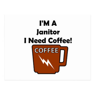 I'M A Janitor, I Need Coffee! Postcard