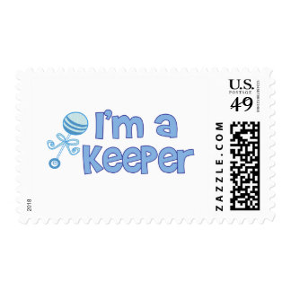 I'm a keeper (new baby boy) postage stamp