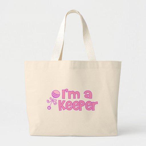 I'm a keeper (new baby girl) jumbo tote bag