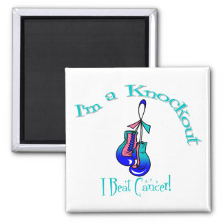 I'm A Knockout I Beat Thyroid Cancer 2 Inch Square Magnet