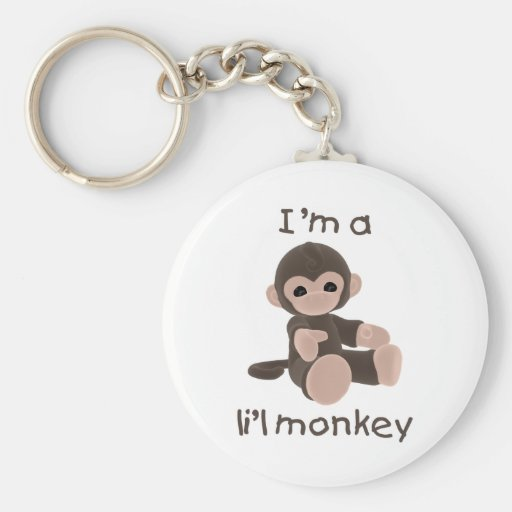 I'm a l'il monkey (brown) basic round button keychain