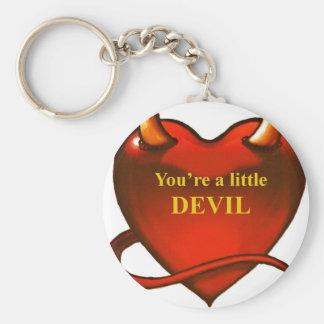 I'm a little devil basic round button keychain