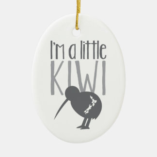I'm a little kiwi with cute New Zealand bird Double-Sided Oval Ceramic Christmas Ornament