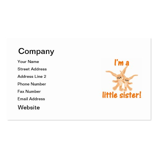 I'm a little sister (orange bunnies) Double-Sided standard business cards (Pack of 100)