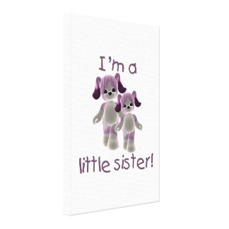 I'm a little sister (purple puppies) canvas print