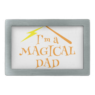 I'm a MAGICAL DAD! With wizards wand Rectangular Belt Buckles