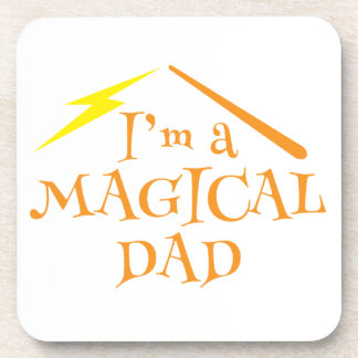 I'm a MAGICAL DAD! With wizards wand Beverage Coaster