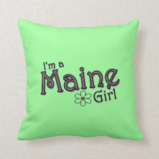 I'm a Maine Girl, Flower Green Decorative Pillow