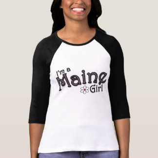 I'm a Maine Girl, Flower, Pink & Black T-Shirt