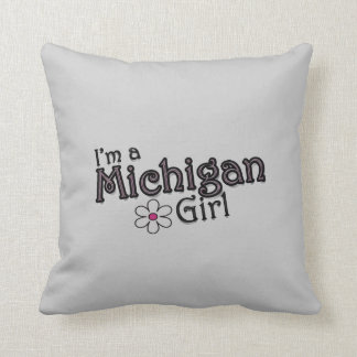 I'm a Michigan Girl, Flower Gray Decorative Pillow
