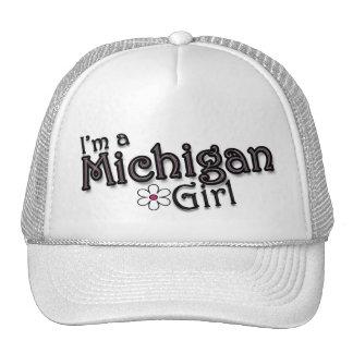 I'm a Michigan Girl, Flower, Ladies Baseball Cap Trucker Hat