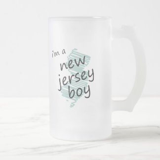 I'm a New Jersey Boy Frosted Glass Beer Mug