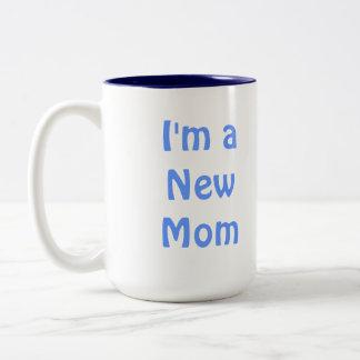 I'm a New Mom. Blue. Two-Tone Coffee Mug