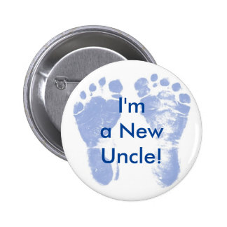 I'm a New Uncle! Baby Boy Feet Button