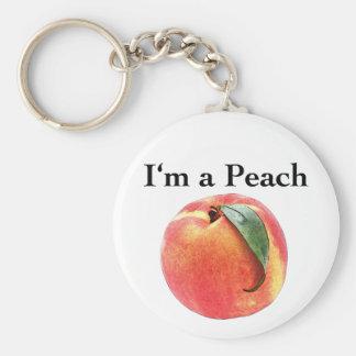 I'm a Peach Basic Round Button Keychain