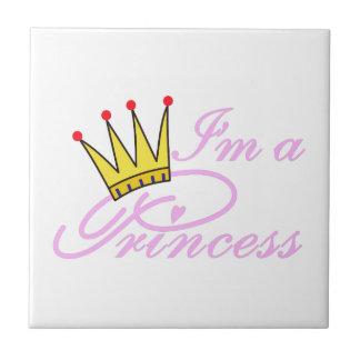 I'm A Princess Small Square Tile