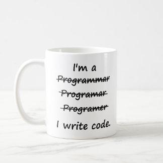 I'm a Programmer I Write Code Bad Speller Classic White Coffee Mug