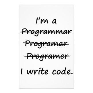 I'm a Programmer I Write Code Bad Speller Stationery