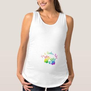 I'm A Rainbow Baby Maternity Tank Top, Handprints at Zazzle