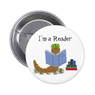 I'm a Reader Book Worm Button