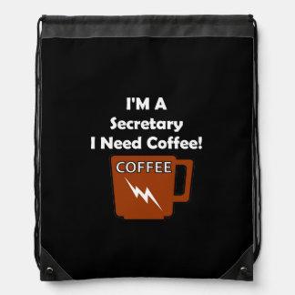 I'M A Secretary, I Need Coffee! Drawstring Bag