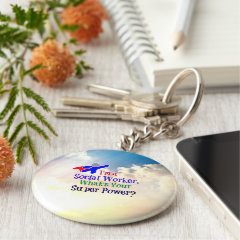 I'm a Social Worker. What's Your Super Power? Basic Round Button Keychain