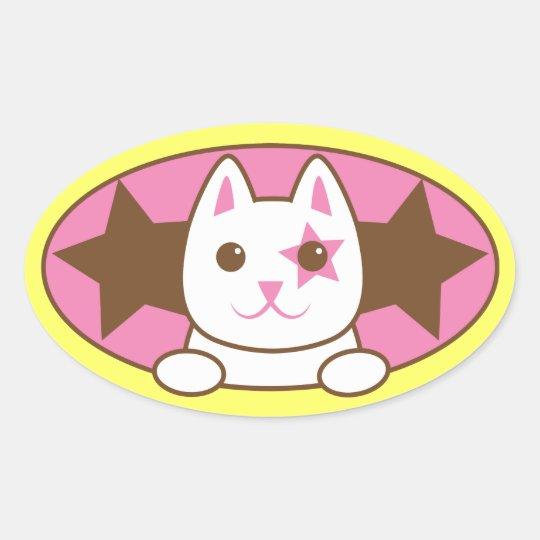 I'm a STAR CAT so cute! Oval Sticker