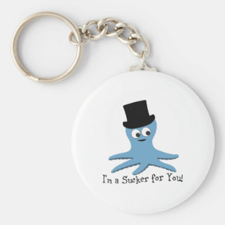 I'm A Sucker for You! Blue Octopus Keychain