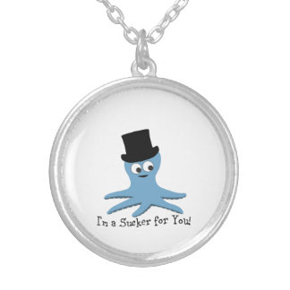 I'm A Sucker for You! Blue Octopus Silver Plated Necklace