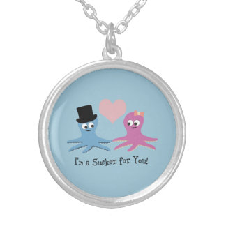 I'm a sucker for you! Cute Octopi Silver Plated Necklace