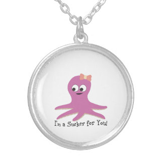 I'm a sucker for you! Pink Octopus Silver Plated Necklace