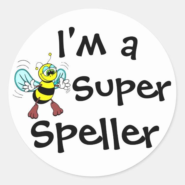 i m a super speller classic round sticker zazzle bee clip art black and white bee clip art heart