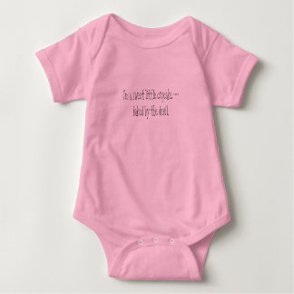 I'm a sweet little cupcake --baked by the devil. baby bodysuit